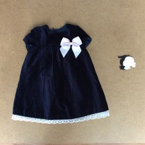 Luli & Me navy velvet dress 18m